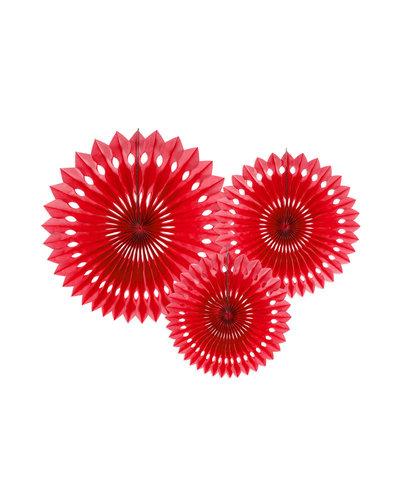 Magicoo 3 Papierfächer in 3 Größen rot 20-30cm