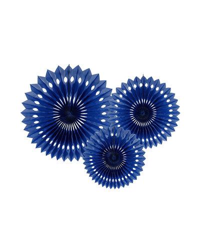 Magicoo 3 Papierfächer in 3 Größen dunkelblau 20-30cm