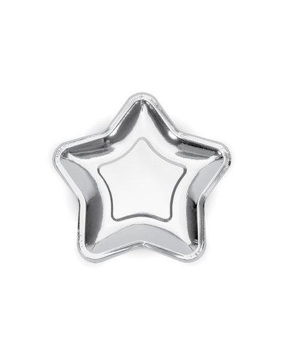Magicoo Partyteller Stern silber 23cm ( 6 Stück)