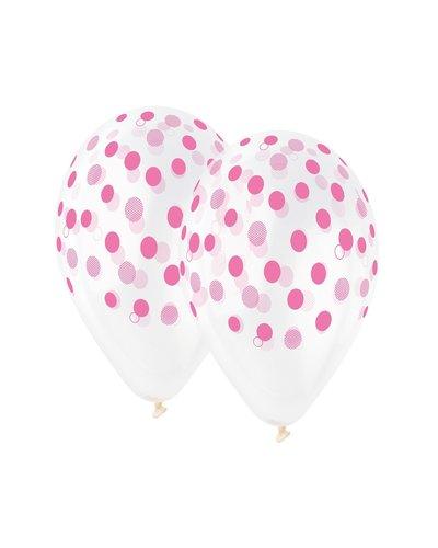Magicoo 5 transparente Luftballons mit rosa Punkten