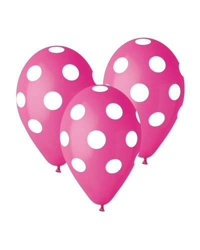 Magicoo 5 Ballons Pink mit weißen Punkten