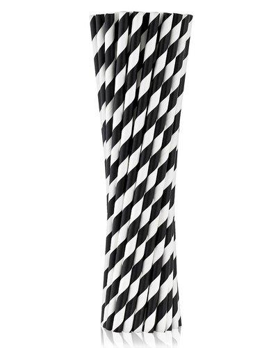 Magicoo 10 Trinkhalme aus Papier schwarz - gestreift