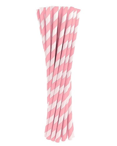 Magicoo 10 Trinkhalme aus Papier rosa - gestreift