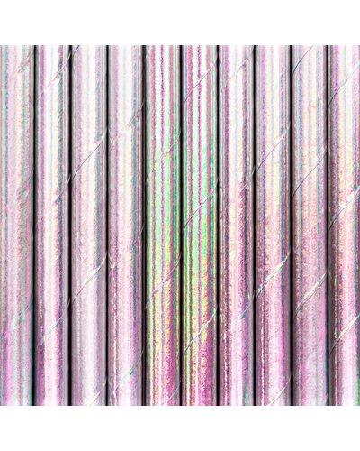 Magicoo 10 Trinkhalme aus Papier rosa - opalisierend
