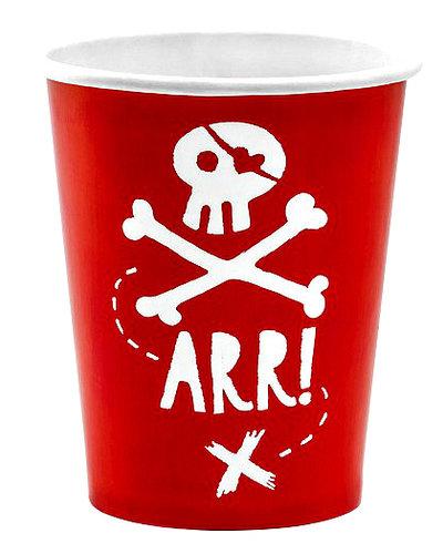 Magicoo 6 rote Becher für Piraten Kindergeburtstag