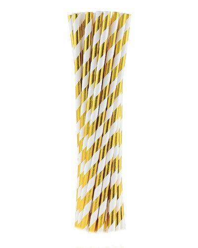 Magicoo 10 Trinkhalme aus Papier gold - gestreift