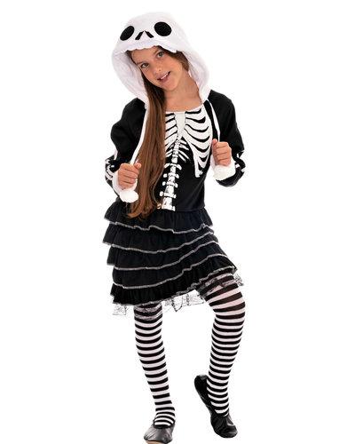 Magicoo Skelett Kostüm für Mädchen schwarz-weiß