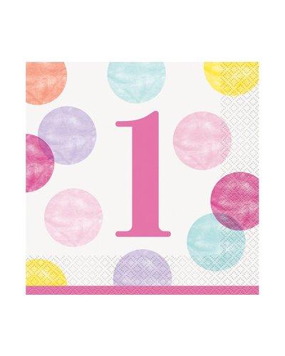 Magicoo Servietten  1. Geburtstag Mädchen  Dots