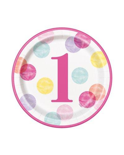 Magicoo Pappteller 1. Geburtstag Mädchen Dots