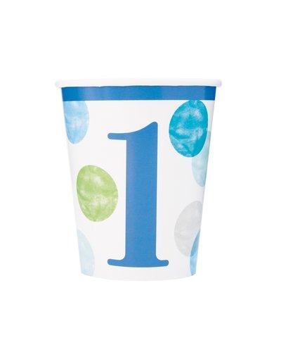 Magicoo Pappbecher 1. Geburtstag Junge Dots
