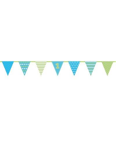Magicoo Wimpelgirlande für 1. Geburtstag blau-grün