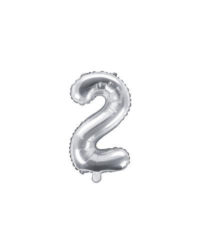 "Magicoo Folienballon Zahl ""2"" Silber - 35 cm"