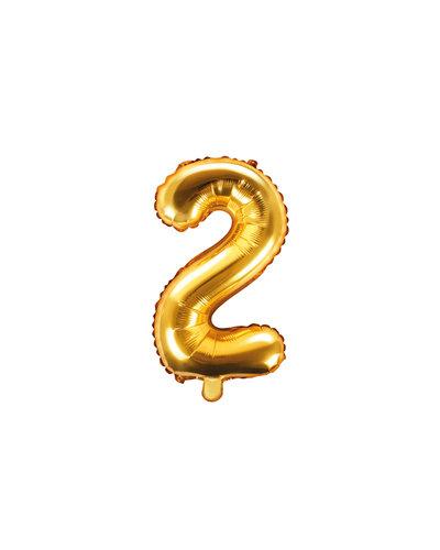 """Magicoo Folienballon Zahl """"2"""" Gold - 35 cm"""