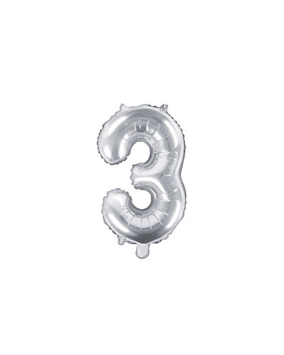 "Magicoo Folienballon Zahl ""3"" Silber - 35 cm"
