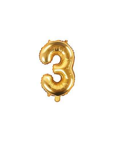 """Magicoo Folienballon Zahl """"3"""" Gold - 35 cm"""