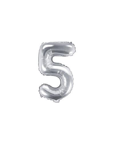 "Magicoo Folienballon Zahl ""5"" Silber - 35 cm"