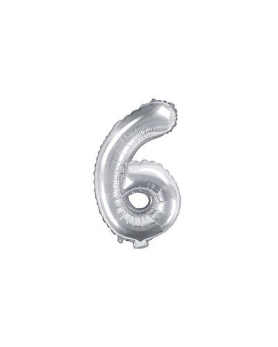 "Magicoo Folienballon Zahl ""6"" Silber - 35 cm"
