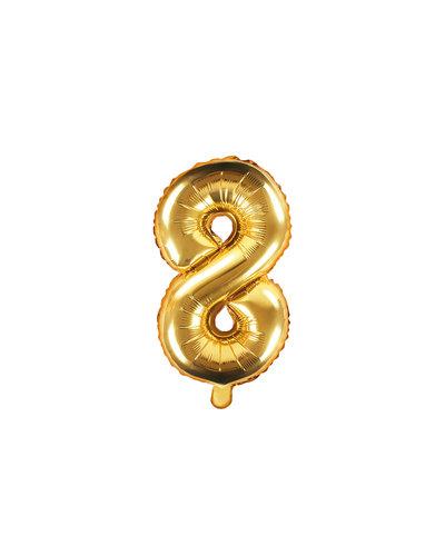 """Magicoo Folienballon Zahl """"8"""" Gold - 35 cm"""