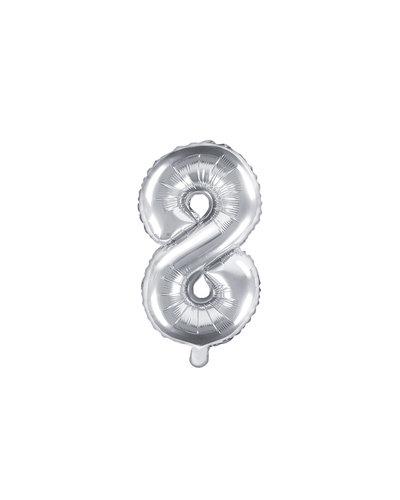 "Magicoo Folienballon Zahl ""8"" Silber - 35 cm"