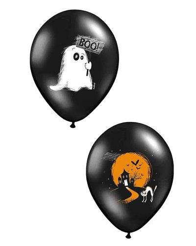 Magicoo 6 Halloween Ballons schwarz zweiseitig bedruckt