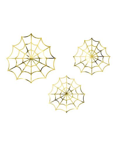 Magicoo 3 Papier-Deko Spinnengeweben Gold