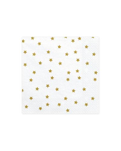 Magicoo 20 Servietten weiß mit Sternen in Gold