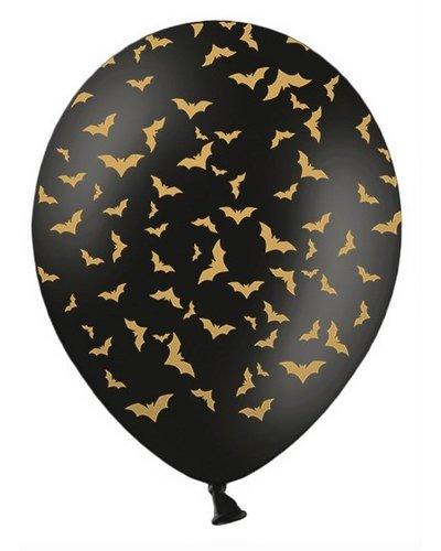 Magicoo 6 Ballons schwarz-gold mit Fledermäusen - 30cm