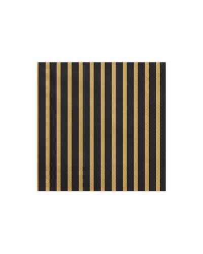 Magicoo 20 Servietten schwarz-gold gestreift