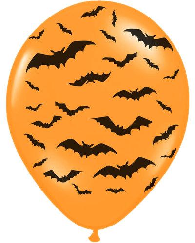 Magicoo 6 Luftballons orange mit Fledermäusen