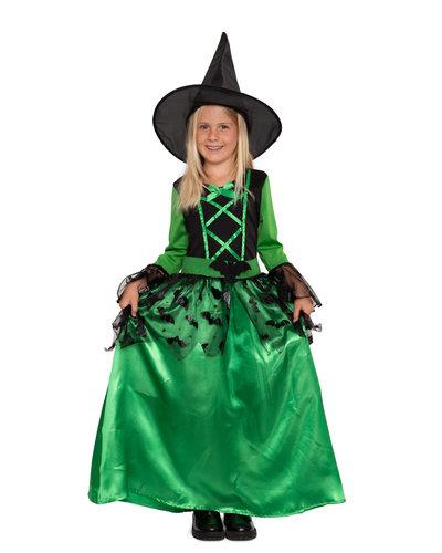 Magicoo Hexenkostüm für Mädchen grün - Fledermaushexe