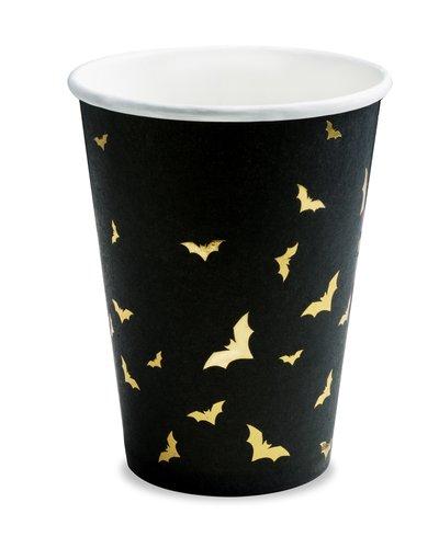 Magicoo 6 Becher schwarz-gold mit Fledermäusen