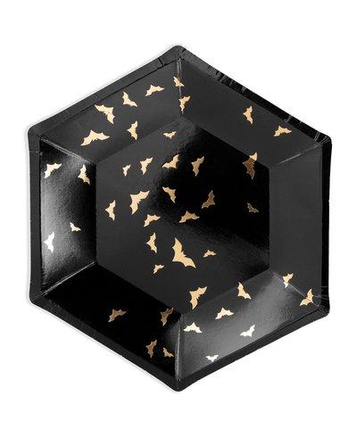 Magicoo 6 Teller schwarz-gold mit Fledermäusen