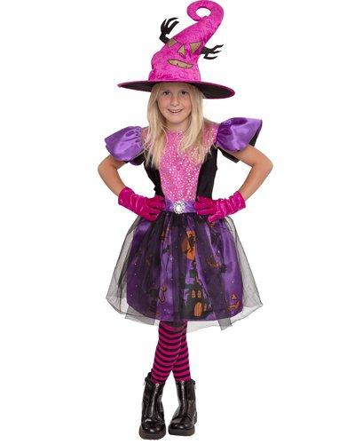 Magicoo Halloween Hexe Kostüm für Mädchen -Rosa/Violett