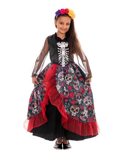 Magicoo Mexikanisches Skelett Mädchen Kostüm