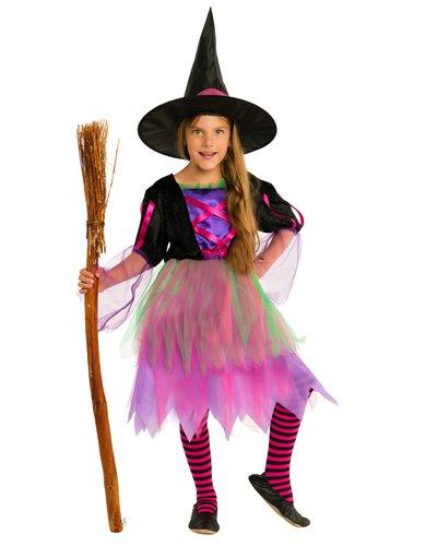 Magicoo Bunte Neon-Hexe Kostüm für Mädchen