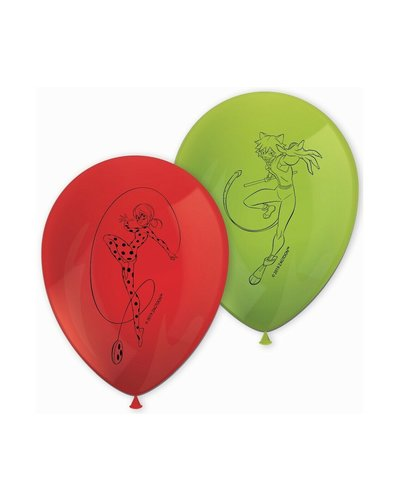 8 Ballons Miraculous Ladybug - rot & grün