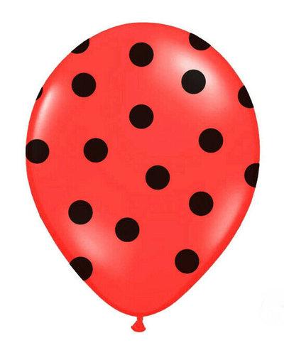 Latexballons mit Punkten rot-schwarz
