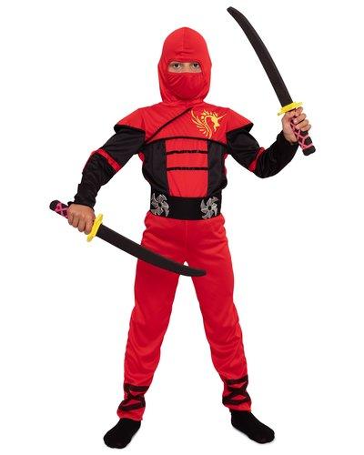 Magicoo Roter Ninja Einteiler Kostüm für Kinder