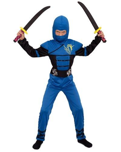 Magicoo Blauer Ninja Einteiler Kostüm für Kinder