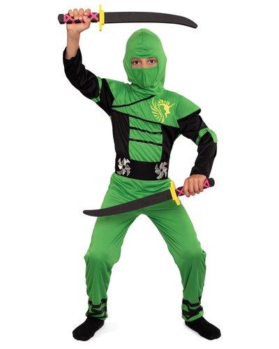 Magicoo Grüner Ninja Einteiler Kostüm für Kinder