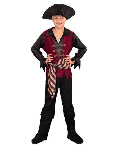 Magicoo Piraten-Kapitän Kostüm Jungen rot-schwarz