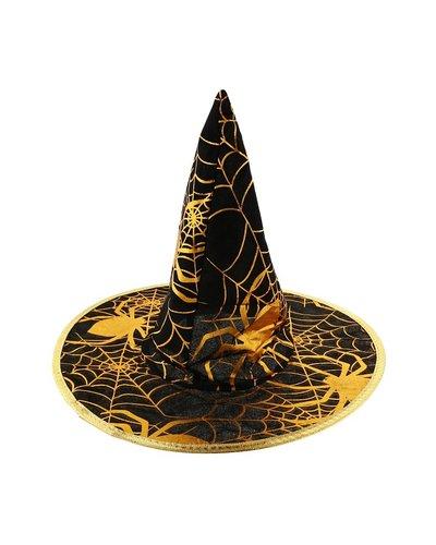 Magicoo Hexenhut mit Spinnenmuster gold-schwarz