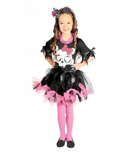 Magicoo Skelett Kostüm für Mädchen pink-schwarz-weiß Kitty