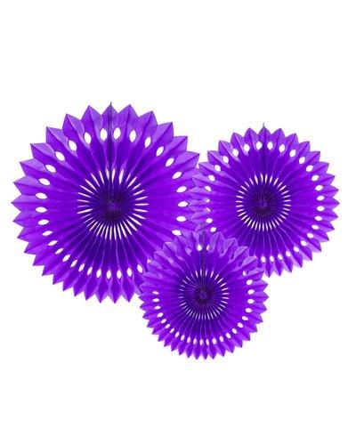 Magicoo 3 Papierfächer in 3 Größen violett - 20-30cm