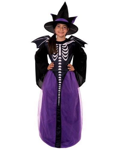 Fledermaus-Skelett-Hexe Kostüm für Mädchen
