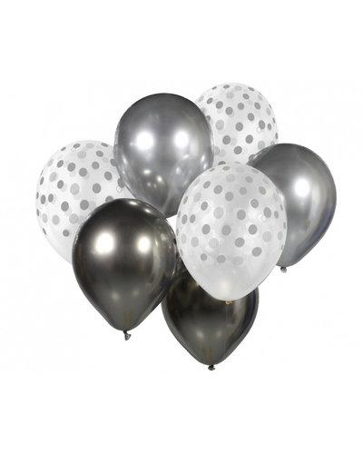 Magicoo Ballonbouquet silber-weiß - 7 Stück