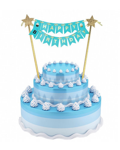 Magicoo Kuchen / Tortendeko Happy Birthday blau
