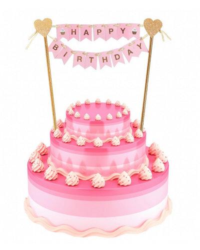 Magicoo Kuchen / Tortendeko Happy Birthday rosa