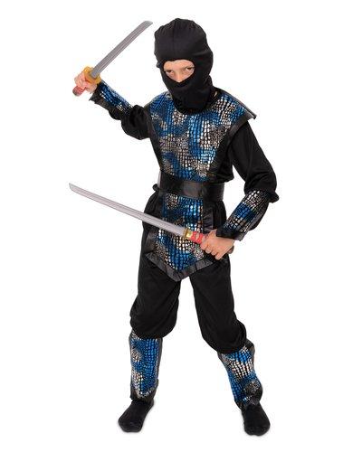Magicoo Ninja Kostüm Kind schwarz-silber-blau