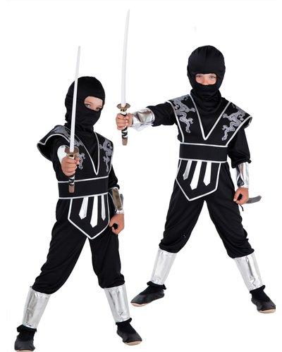 Magicoo Dragon Ninja Kostüm Kinder silber-schwarz